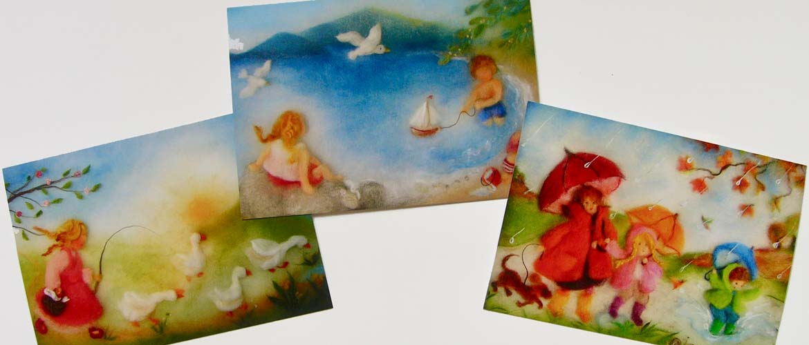 Cards with motifs of the wool pictures